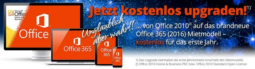 Von Office 2010** auf das neue Office 365 (2016) Mietmodell – kostenlos für's 1. Jahr