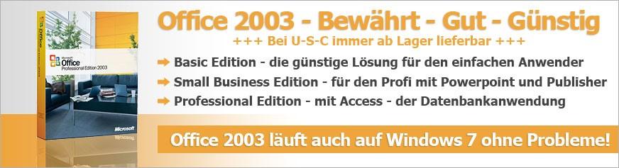 Office 2003 - Bewährt - Gut - Günstig +++ Bei U-S-C immer ab Lager lieferbar +++ Basic Edition - die günstige Lösung für den einfachen Anwender - Small Business Edition - für den Profi mit Powerpoint und Publisher - Professional Edition - mit Access - der Datenbankanwendung - Office 2003 läuft auch auf Windows 7 ohne Probleme!